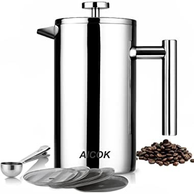 Aicok French Press Coffee Maker, Double Wall Stainless Steel Coffee Press, 8-Cup Coffee Percolator with 5 Bonus Screens and Scoop, 34 oz / 1L