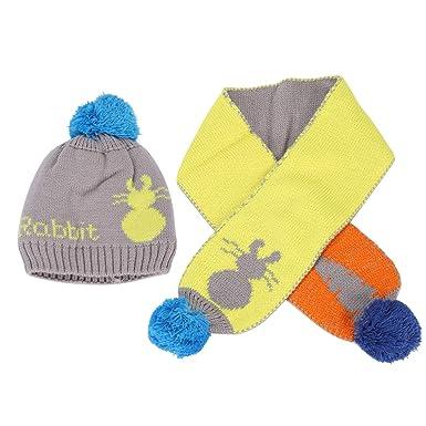901b9cce93437 帽子 マフラー キッズ帽 秋冬 ウサギ柄 ポンポン 可愛い 赤ちゃん スカーフ 萌え萌え 暖かい 防寒 保温