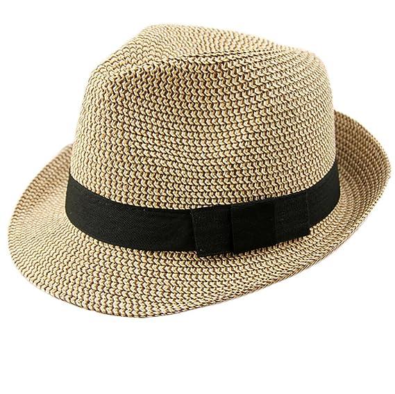 0d873d4c56ec4 Leisial Pareja Sombrero de Paja Playa Jazz Panama Estilo Británico Deporte  al Aire Libre Gorro del Sol Sombrero Modelos para Hombre Mujer