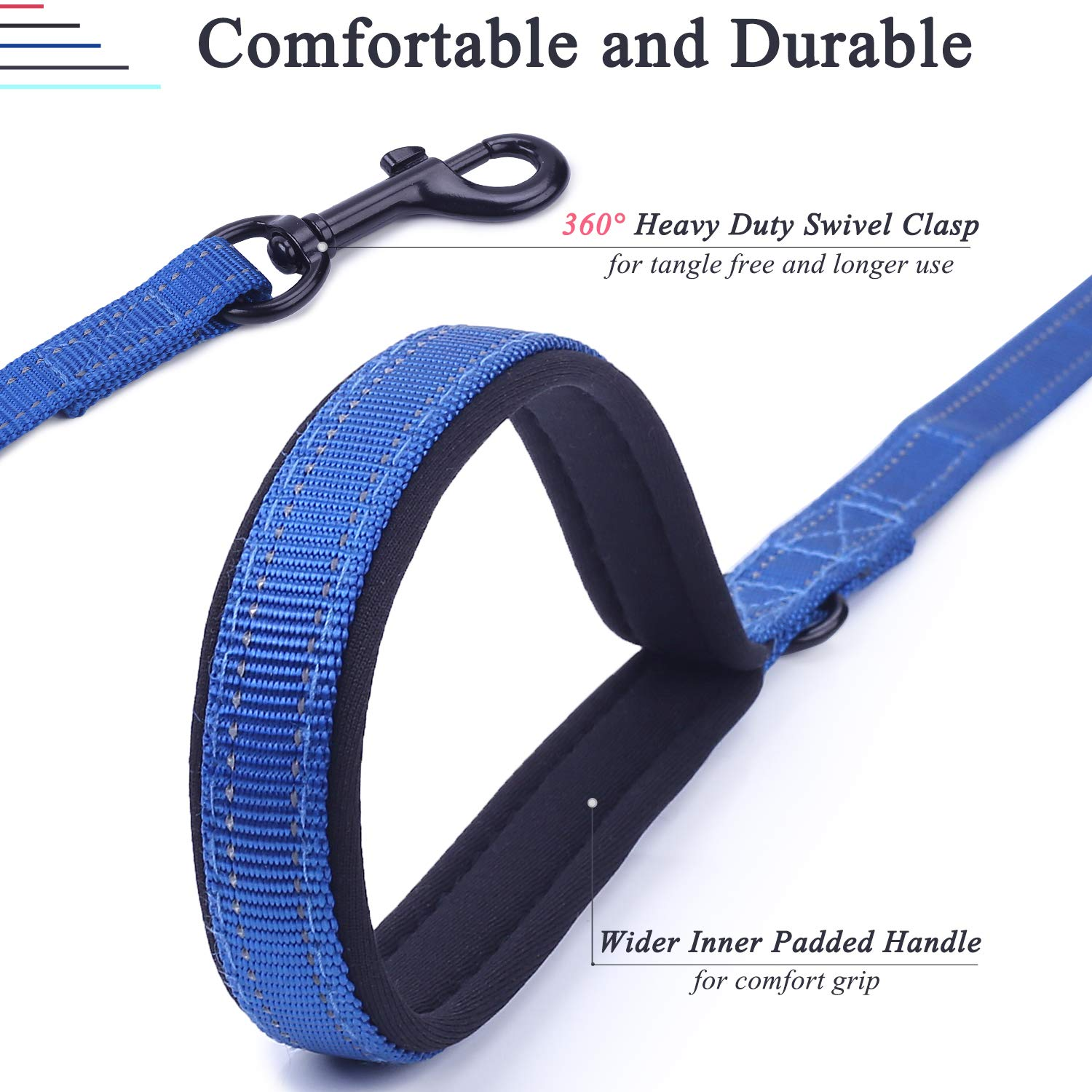 Heavy Duty 5ft Long Safety Training Double Handle Walking Leash for Medium to Large Dogs VIVAGLORY Reflective Dog Lead with Padded Handle Grey
