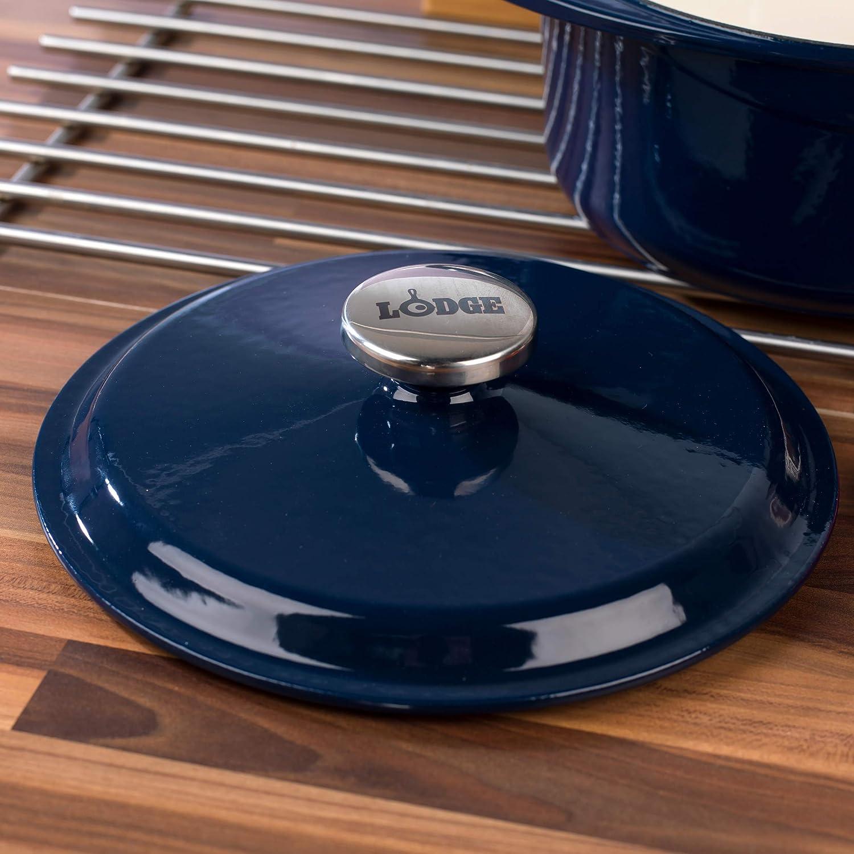 color azul Lodge 1407002 Cacerola redonda de hierro fundido con tapa 4 L 24 cm