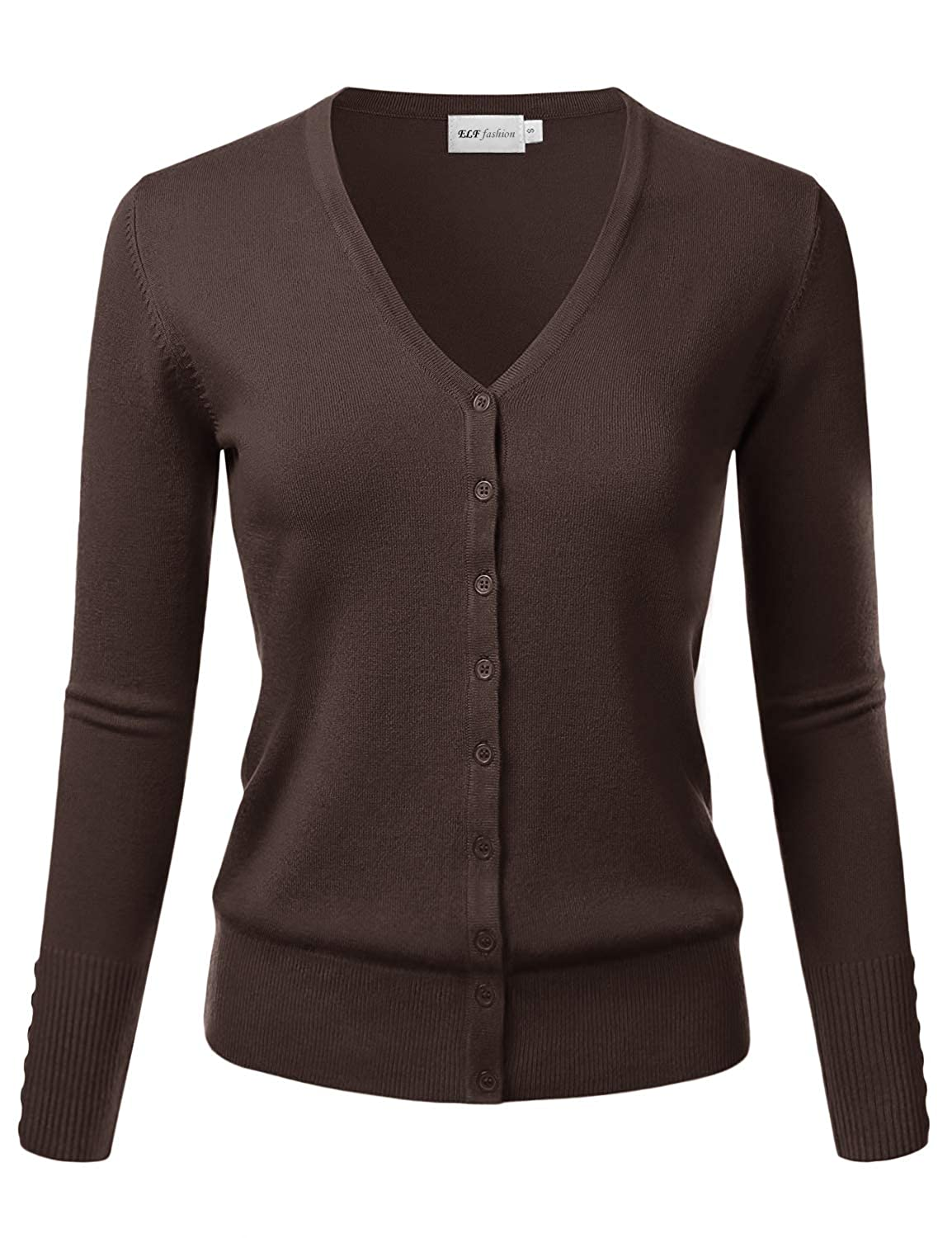 S~3XL Brown S ELF FASHION Womens V-Neck Long Sleeve Button Down Sweater Cardigan Soft Knit