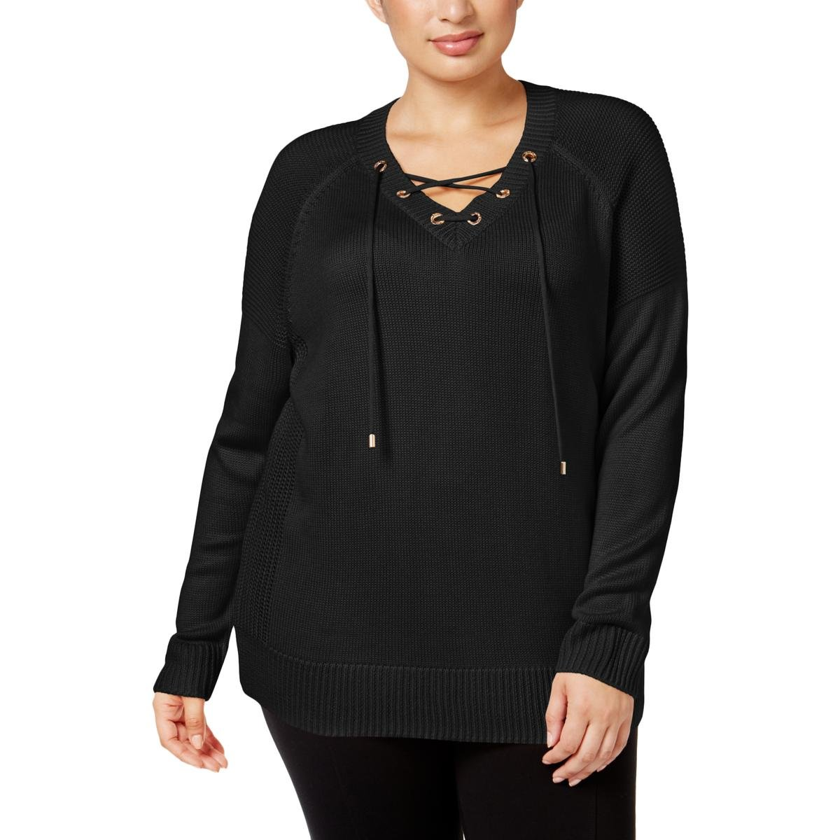 Calvin Klein Plus Size Lace Up Sweater