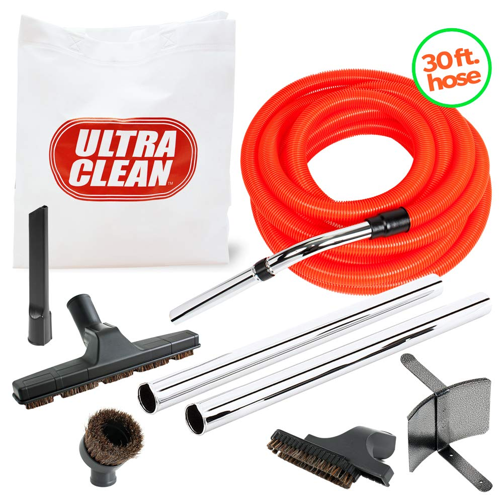 Ultra Clean Central Vacuum Cleaner 30 Foot Garage Cleaning Attachment Hose Kit