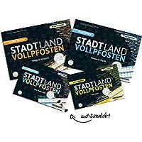 DENKRIESEN - Stadt Land VOLLPFOSTEN® - Family-Pack mit 2-Minuten Sanduhr - Stadt Land FLUSS MEGA Pack - Innovative Spielesammlung