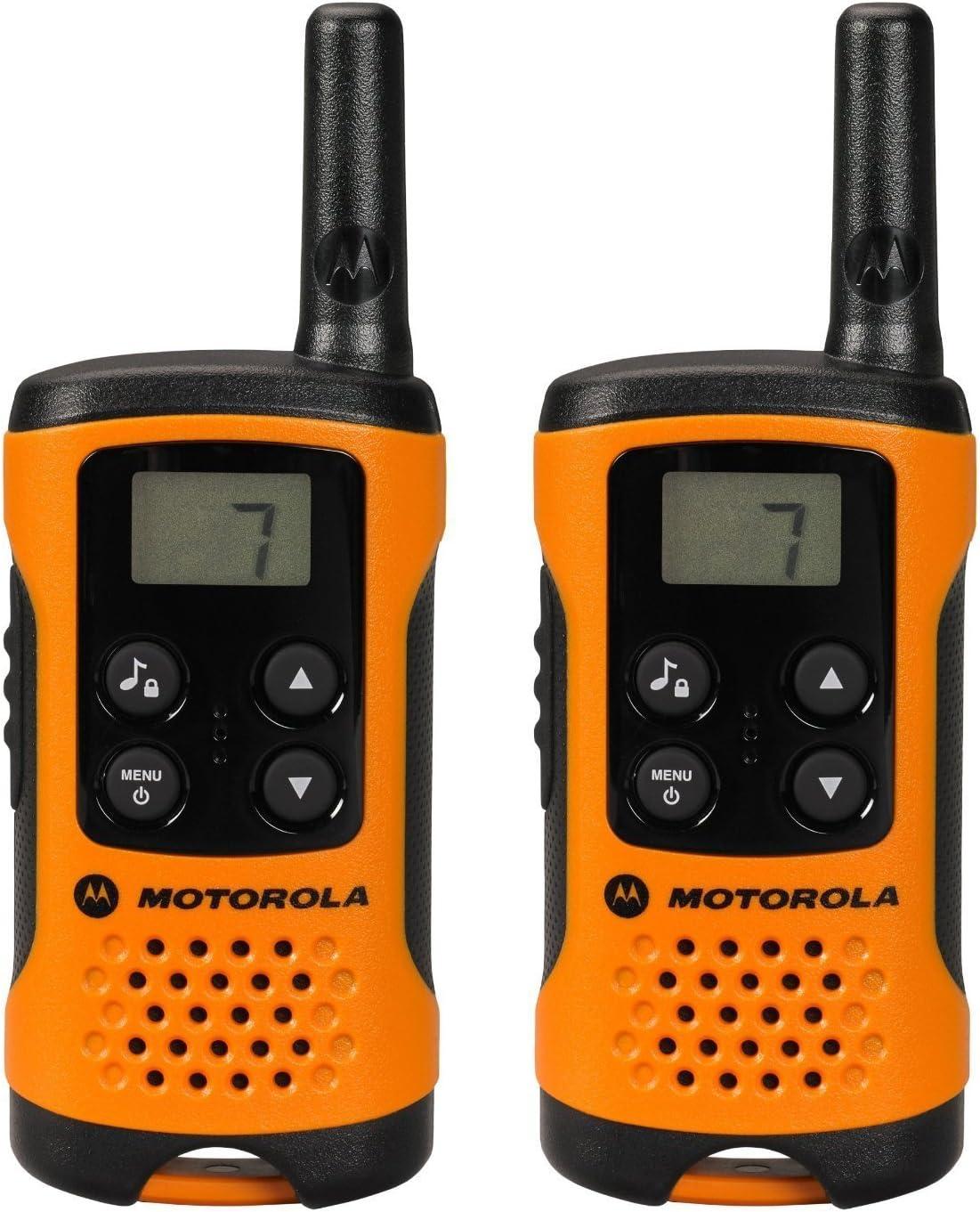 Motorola TLKR T41 Walkie-Talkie, Pantalla LCD, Naranja, paquete de 2 unidades