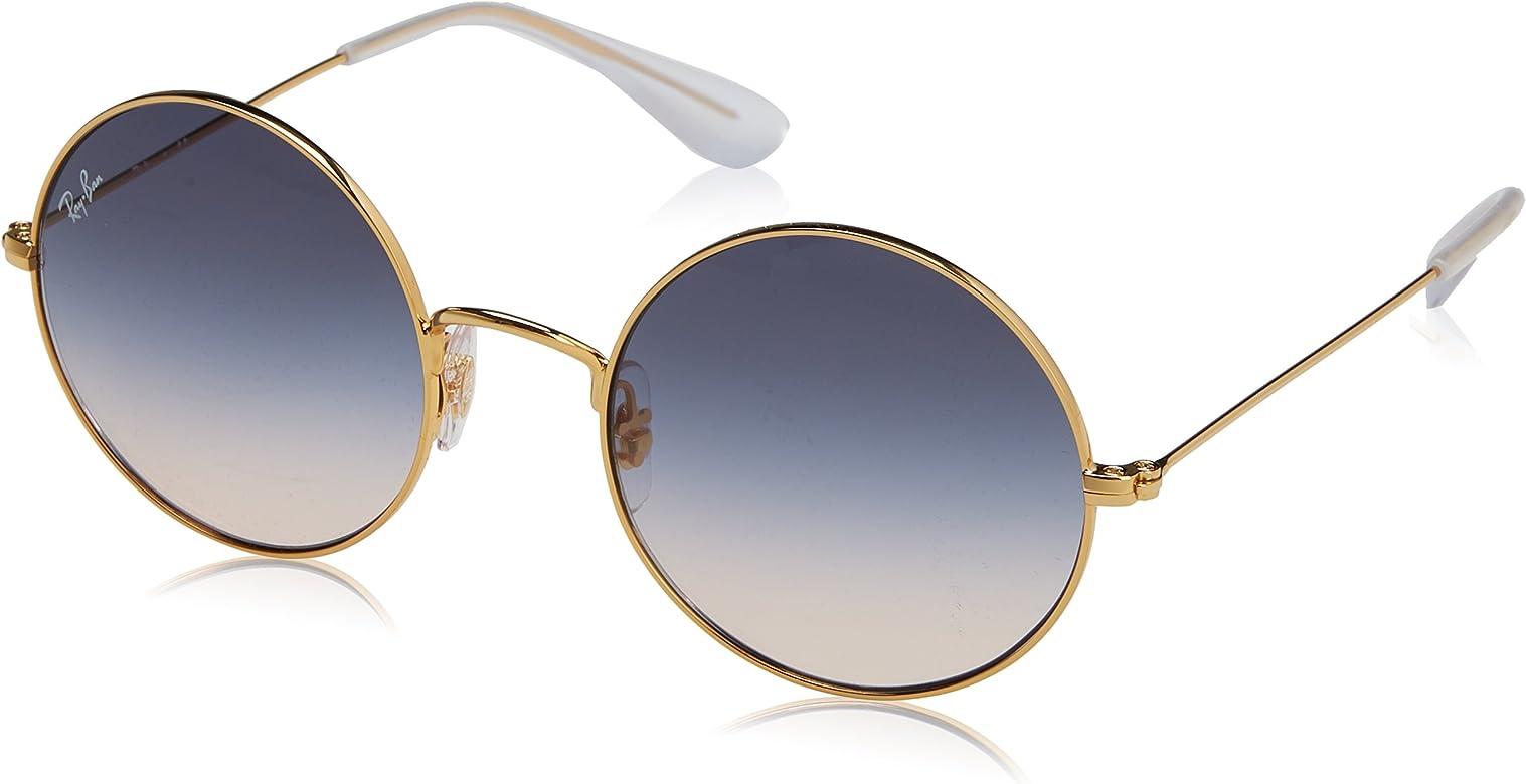 design di qualità cea91 f6f75 Ray-Ban ja metallo jo rotondi occhiali da sole in sfumatura marrone oro blu  RB3592 001/I9 50