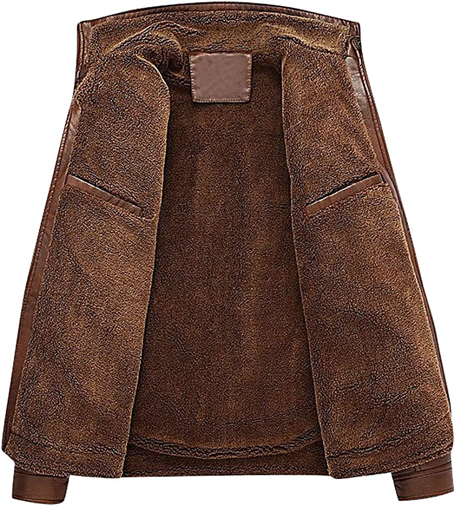 Mancave Men Stand Collar Stitch Detail Inner Faux Fur Zipped PU Leather Jacket