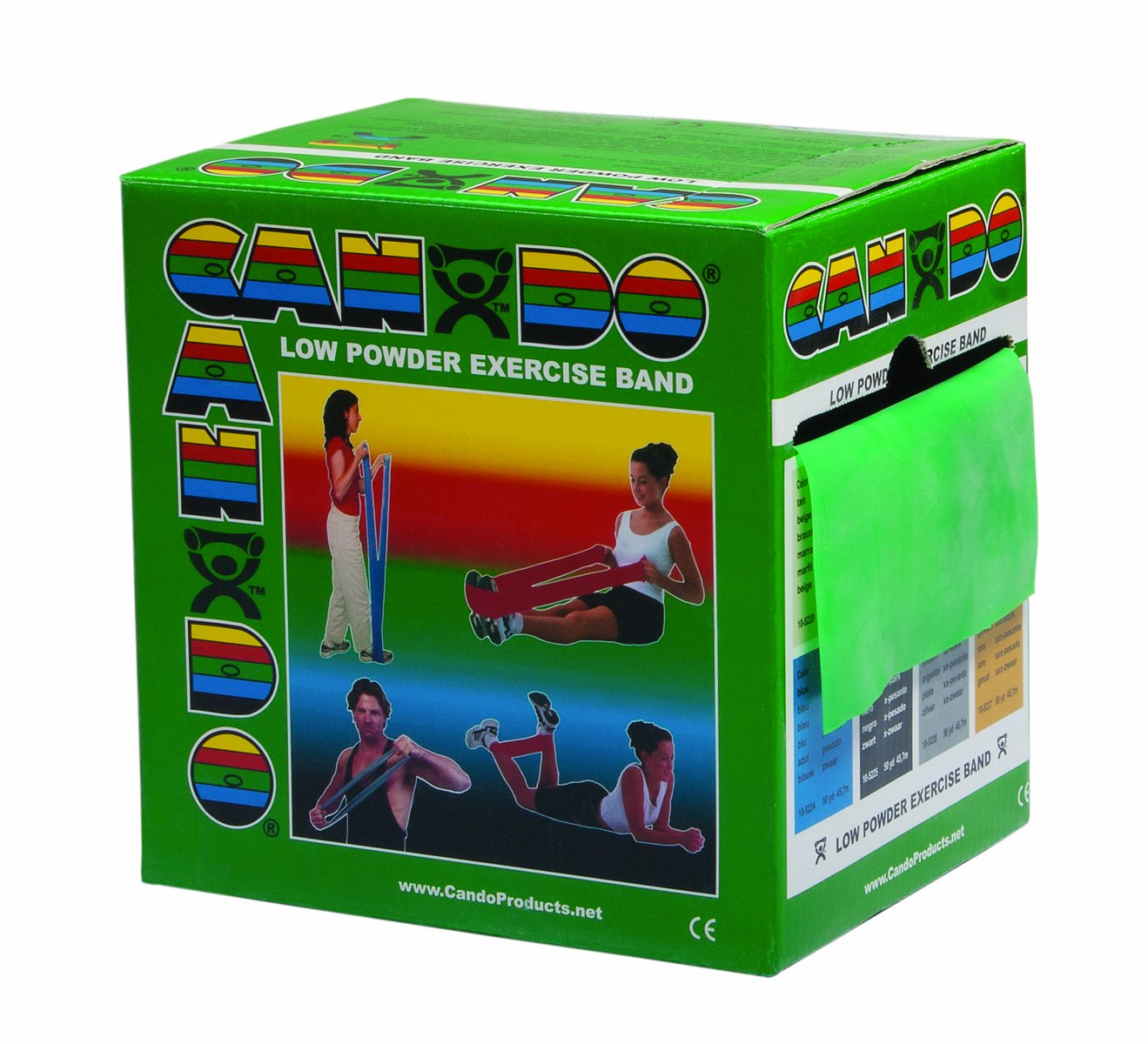 CanDo Low Powder Exercise Band, 50 yard roll, Green: Medium