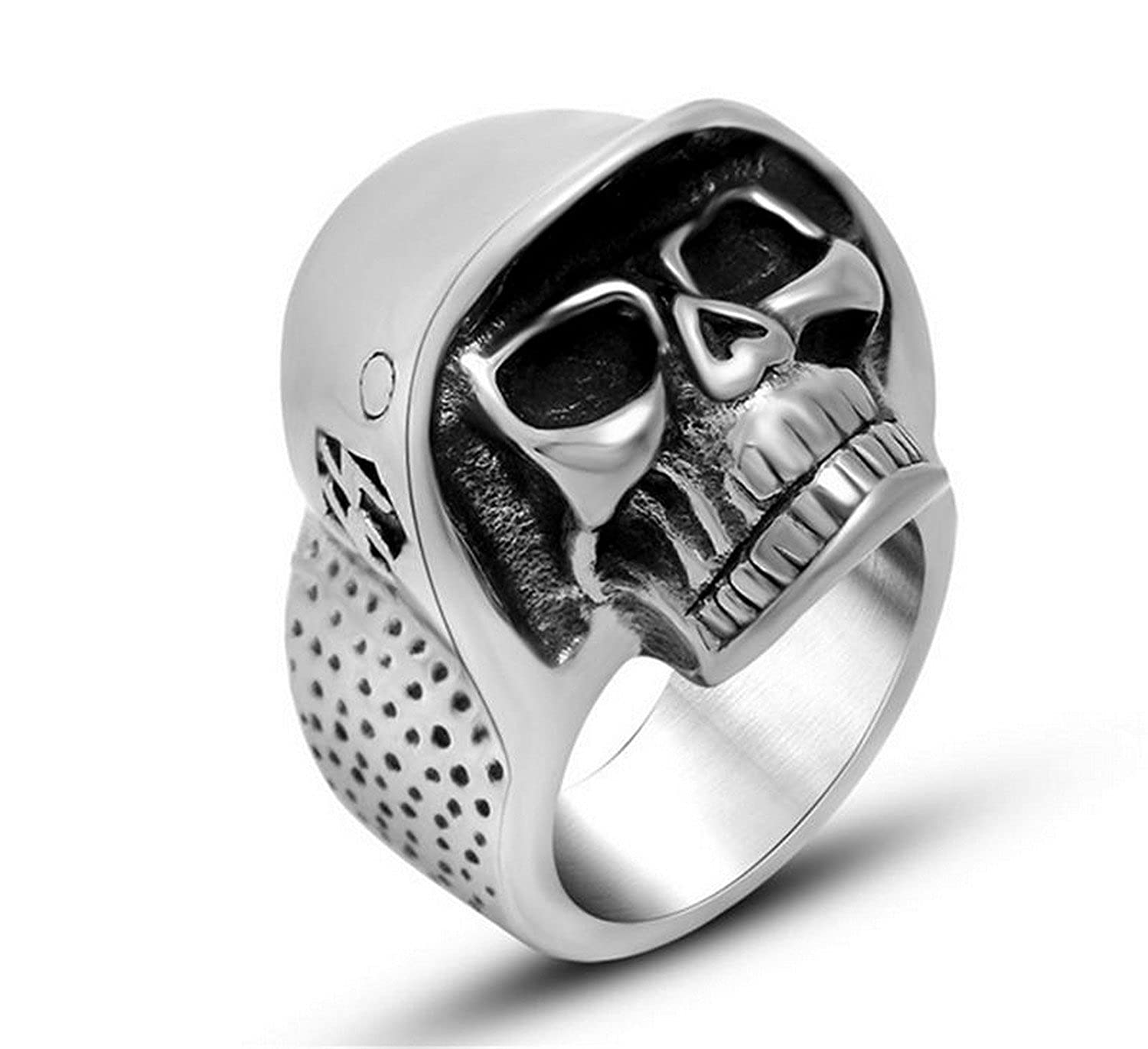 Dudee Jewelry Love Eye Silver Skull Biker Ring Stainless Steel Jewelry Classic Gothic Motor Biker Skull Ring for Men and Women