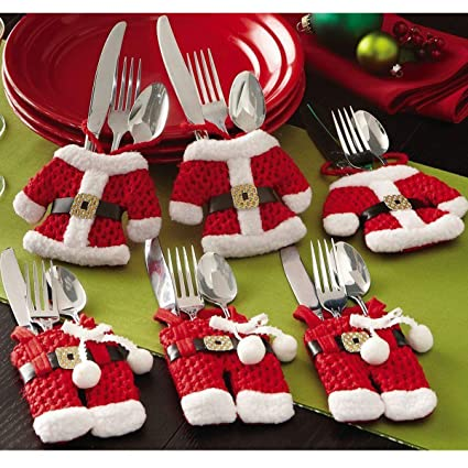 cellelection santa suit christmas silverware holder pockets red 6pcs - Christmas Silverware Holders
