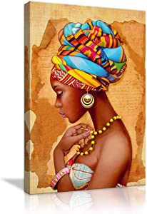 African American Woman Canvas Abstract Poster Wall Art Paintings Prints Decor Artwork for Bedroom Home Office Framed Ready to Hang