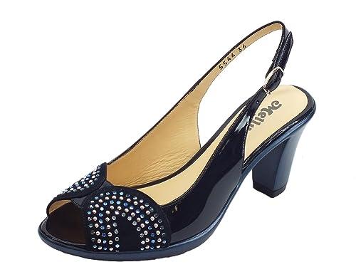 R50103 36 MELLUSO Elegante Sandalo Nero Donna E0294 qwtRwUv
