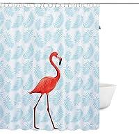 """Rideau de Douche Imperméable et Anti-moisissure PEVA Flamingo Rideaux de Salle de bains Bain Douche avec 12 pcs crochets 180 x 200cm (72 """"W x 78"""" H) pouces"""