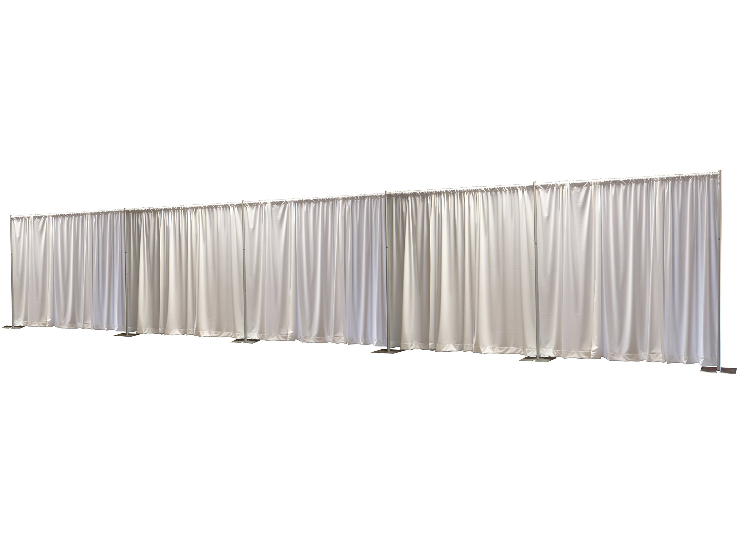 OnlineEEI, Premier Pipe and Drape Backdrop or Room Divider Kit, 8ft x 50ft, White Premier Drapes