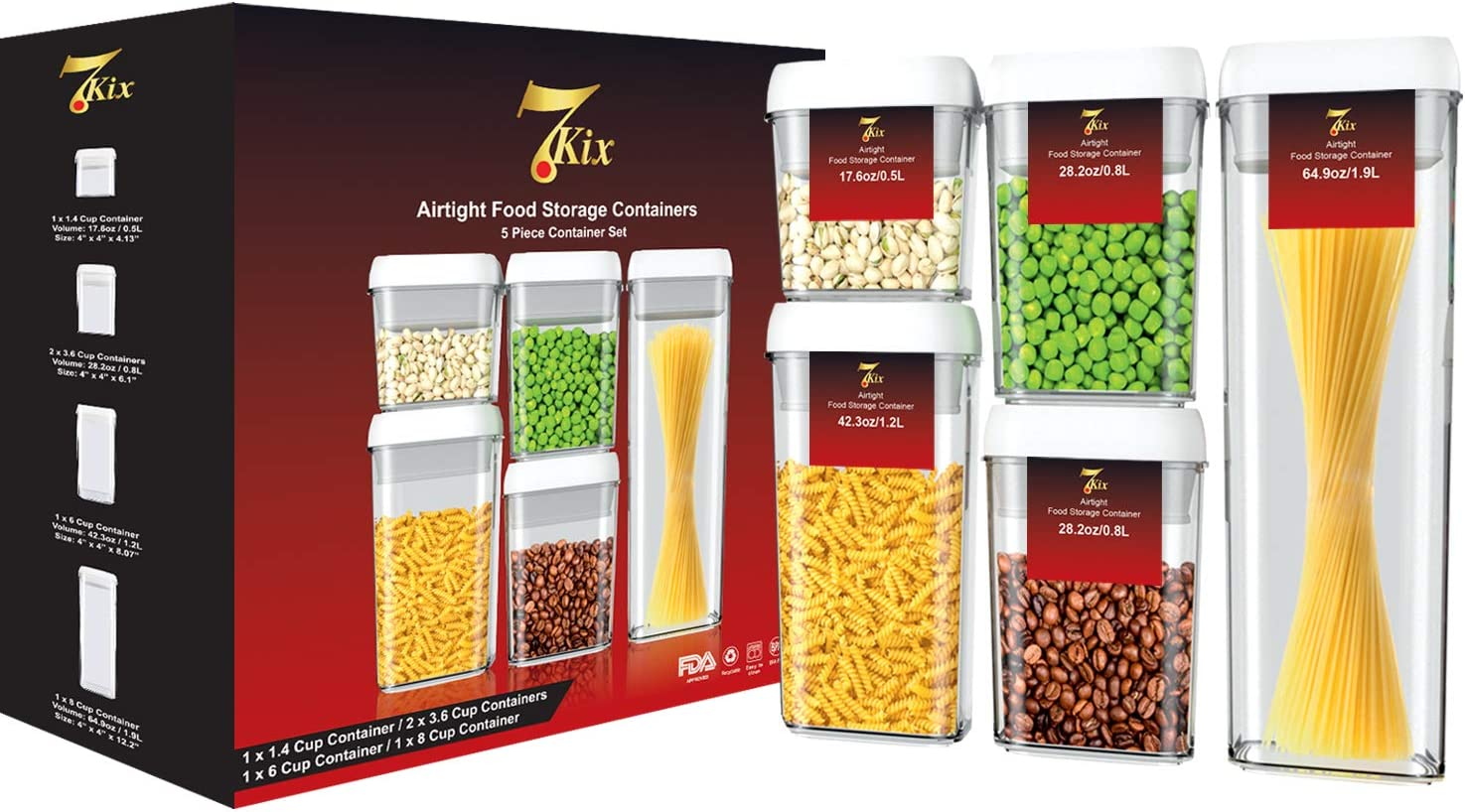 7Kix Airtight Food Storage Containers 5 Piece Set - BPA Free - Durable Clear Acrylic Container with Innovative Air-Tight White Lid - Leak Proof - Stackable - Keeps Pantry & Kitchen Organized