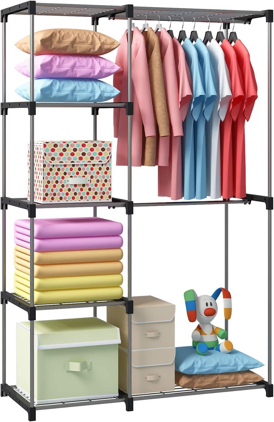 "GHQME Freestanding Double Rod Clothes Closet Organizer Storage Metal Heavy Duty Garment Rack Wardrobe with Wire Shelf for Bedroom Dorm Black, 44.5/"" x 18.1/"" x 68.1/"""