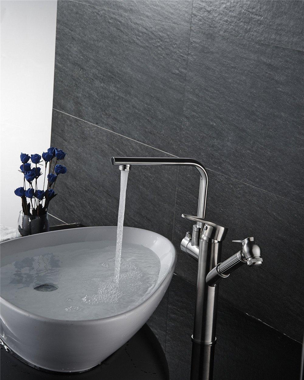 Bijjaladeva Antike Küche Spülbecken Das kupfer Küche Küche Waschbecken Waschbecken Wasserhahn gebürstet Mischbatterie Wasser ziehen können - und Wasserhahn