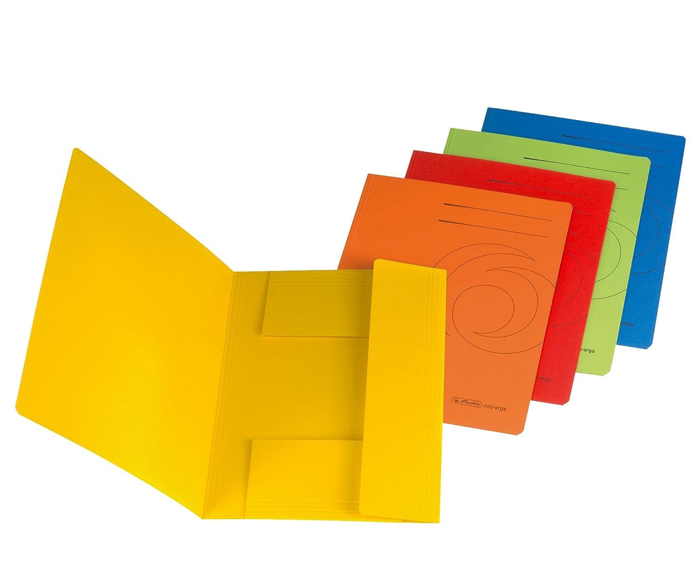 in cartoncino riciclato formato A4 Herlitz Confezione da 10 cartelline a 3 lembi colore: blu