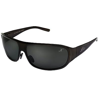 289df219d8 Xezo Base curva 8, Titanio sólido polarizadas UV 400 gafas de sol para hombres  con negro lente, Café acabado metálico, 1.7 Oz. grande