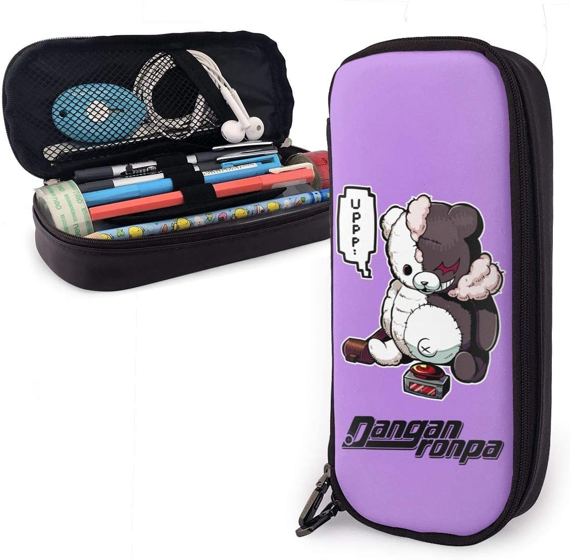Danganronpa Anime Pencil Case,Multifunction PU Leather Pencil Case with Zipper Closure,Carrying Case for School Supplies Office Stuff