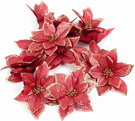 Amazon Com Diremo 10pcs Red Glitter Poinsettia Flower Christmas Tree Ornaments Christmas Decorations For Home Xmas New Year Decor Party Supplies Red 1 20pcs Kitchen Dining