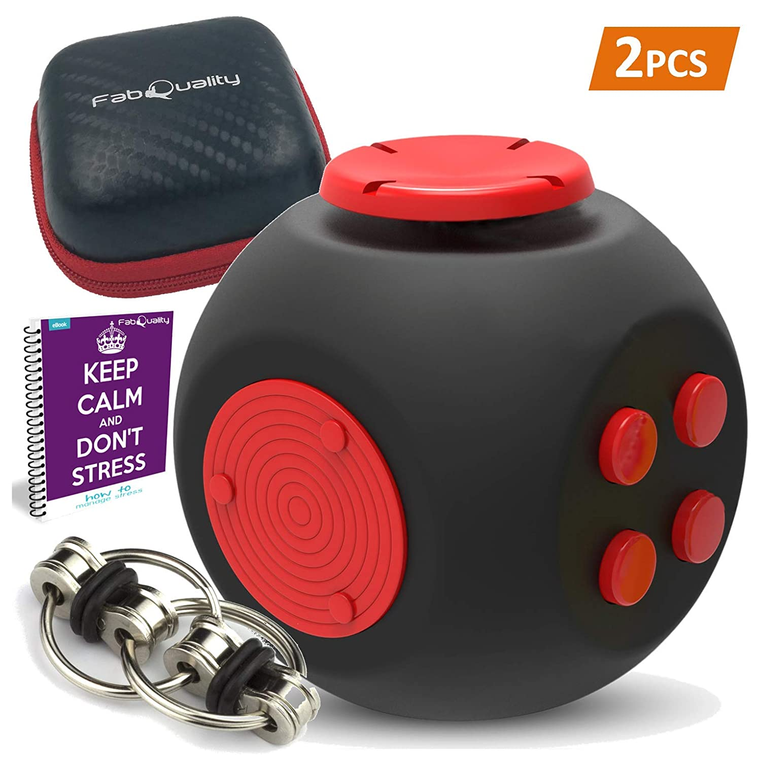 2pcs Fidget Cube New & Improved Quality Anxiety Attention Toy with Minion Key Chain + Gift Box + eBook inc - Relieves Stress and Anxiety and Relax for Children + Adults