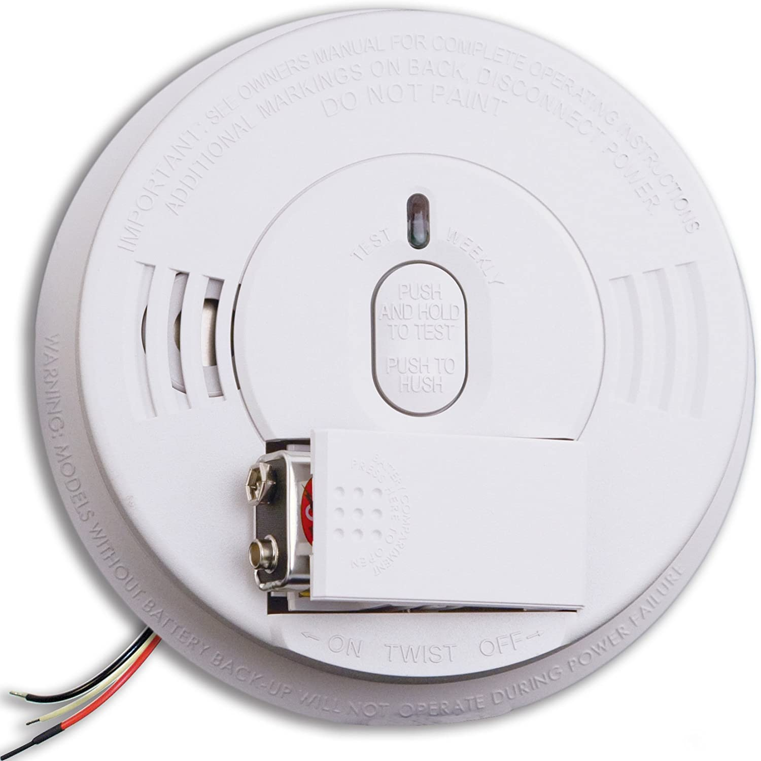 Kidde i12060 Hardwire with Front Load Battery Backup Smoke Alarm, 1 Pack, White - Smoke Detectors -