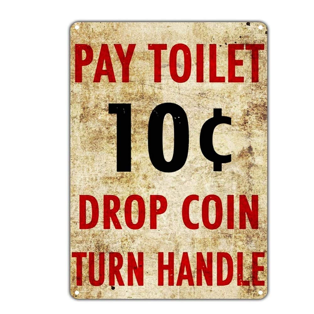 Shunry Pay Toilet Placa Cartel Vintage Estaño Signo Metal De ...