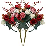 Supla 2 Bouquet 7 Branch 21 Head Artificial Diamond Rose Colorful Silk Flowers Fake Flower Home Hotel Party Wedding Decor (Red coffee)(vase not included)