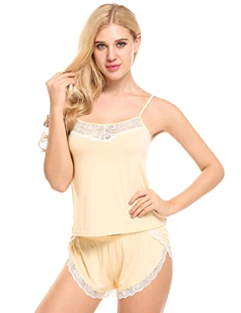 f8bc5ec9892 Ekouaer Women Pajamas Sexy Short Sets Lace Camisole Lingerie Sleepwear  (Champagne