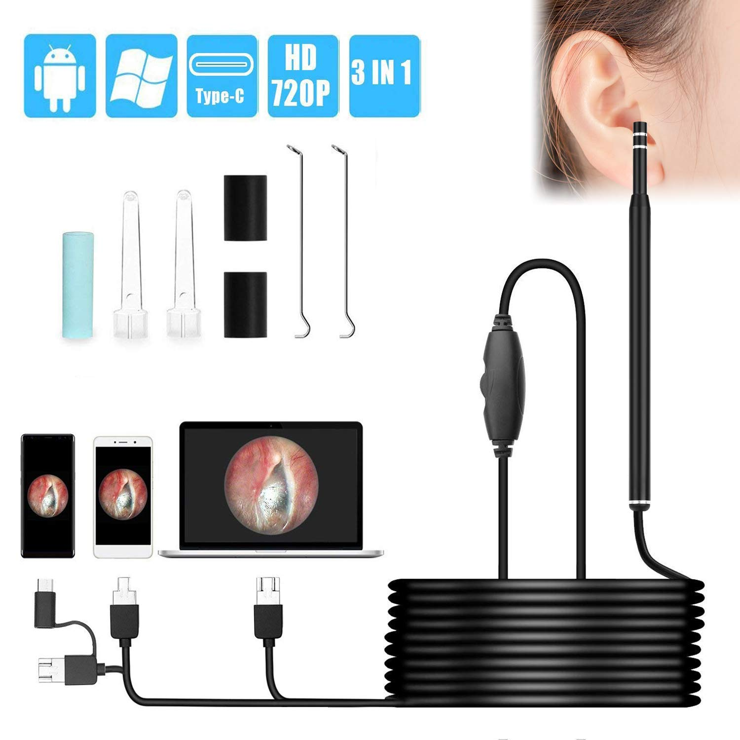 USB Otoscope, VSATEN Digital Ear Endoscope 720HD Ear Inspection Camera with 6 Adjustable LED Lights for USB-C & Micro USB Android Smartphone Tablet, Windows & Macbook OS Computer by VSATEN