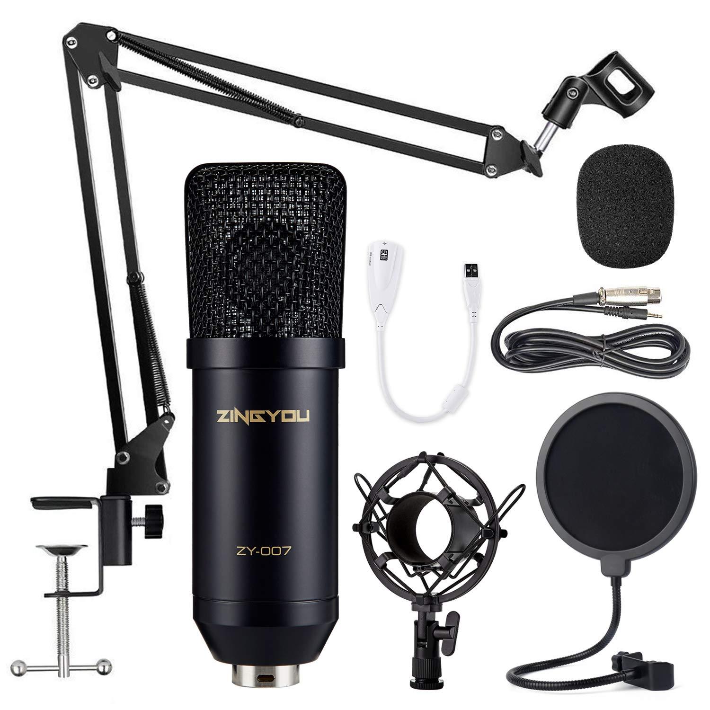 ZINGYOU Condenser Microphone Bundle Shock Mount and Pop Filter Studio Recording /& Broadcasting ZY-007 Professional Cardioid Studio Condenser Mic Include Adjustable Suspension Scissor Arm Stand