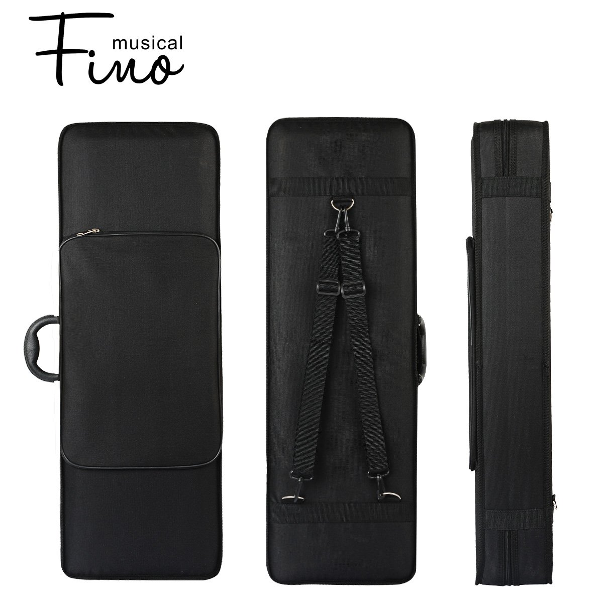 4/4 Full Size Violin Case,FINO Professional OblongViolin Hard Case with Built-in Hygrometer,Super Lightweight Portable Carrying Bag Slip-On Cover with Backpack Straps,Black