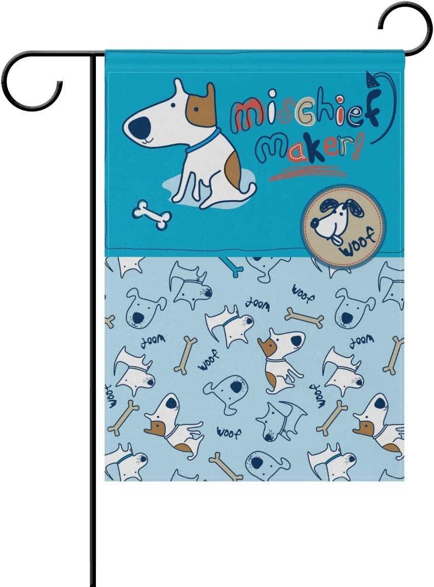 WIHVE Illustration Cute Cartoon Dog Bone Pattern Garden Flag Home Outdoor Patio Seasonal Holiday Fabric 28 x 40 inch Wedding Anniversary Garden Flag