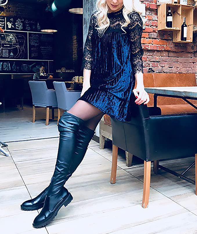 Donna Vestiti Eleganti da Cerimonia da Sera Abito Vintage Cute Chic Pizzo Velluto  Manica 3 4 Rotondo Collo Larghi A Pieghe Vestito Corto Moda Giovane Corti  ... db44ad5511e