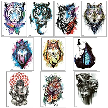 6bfe775ed Amazon.com : 10 Sheets Arm Temporary Tattoo Stickers for Men and Women,  Tiger, Wolf Chest Shoulder Tattoos, Guys Teens Waterproof Fake Tattoos :  Beauty