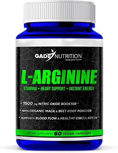 L-Arginine Nitric Oxide Booster 1500mg. Extra Strength with AAKG, L-Citrulline, Maca Beet Root. Best Amino Acid HCL Supplement. Supports Muscle Growth, Vascularity, Energy, Endurance Heart Health.