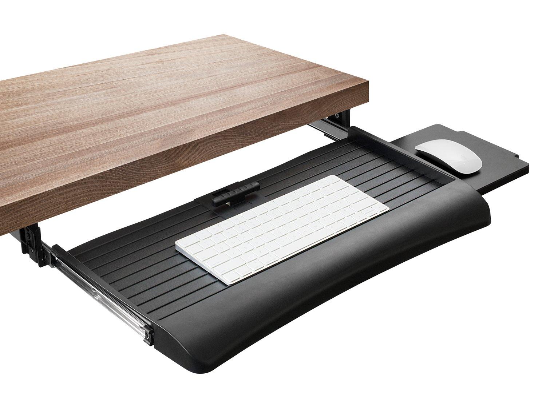 Mount-It! Keyboard Drawer Under Desk with Mouse Platform, Easy-Glide Sliding Under-Counter Computer Keyboard Tray 21 inch Wide, Black