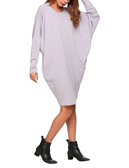 6e6c6dfbb4a4 SE MIU Women Long Sleeve Loose Dress Batwing Sleeve Round Neck Dress with  Pockets at Amazon Women s Clothing store