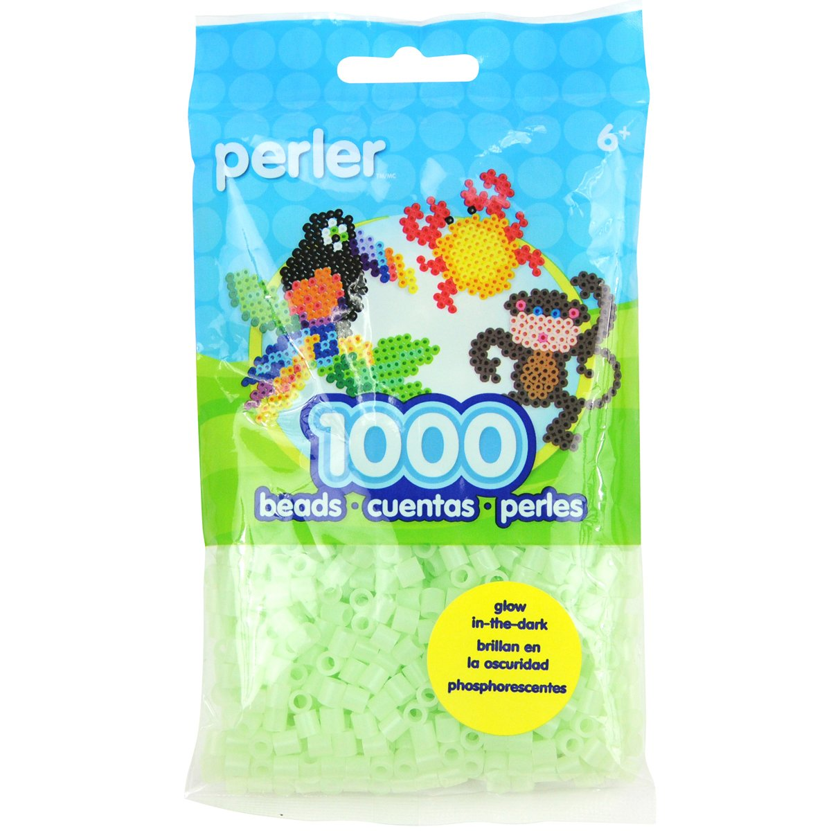 Perler Bead Bag Glow-in-The-Dark Green