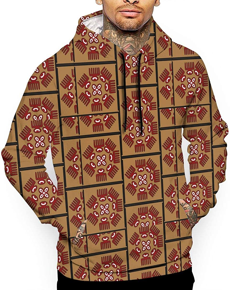 Adinkra Squares Mens Front Pouch Pocket Pullover Hoodie Sweatshirt Long Sleeves Pullover Tops