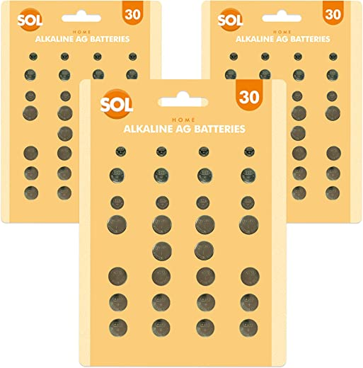 90 x Assorted Button Cell Batteries | Alkaline Watch Batteries | Mixed Button Battery Pack | Calculator Toys Pacemaker | LR44 LR41 SR626SW GPA76 L736 LR626