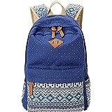 MingTai Backpack Mochilas Escolares Mujer Mochila Escolar Lona Grande Bolsa Estilo Étnico Vendimia Lunares Casual Colegio Bolso Para Chicas