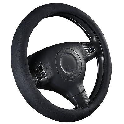 CAR PASS Faux Suede Universal Car Steering Wheel Cover - Black: Automotive