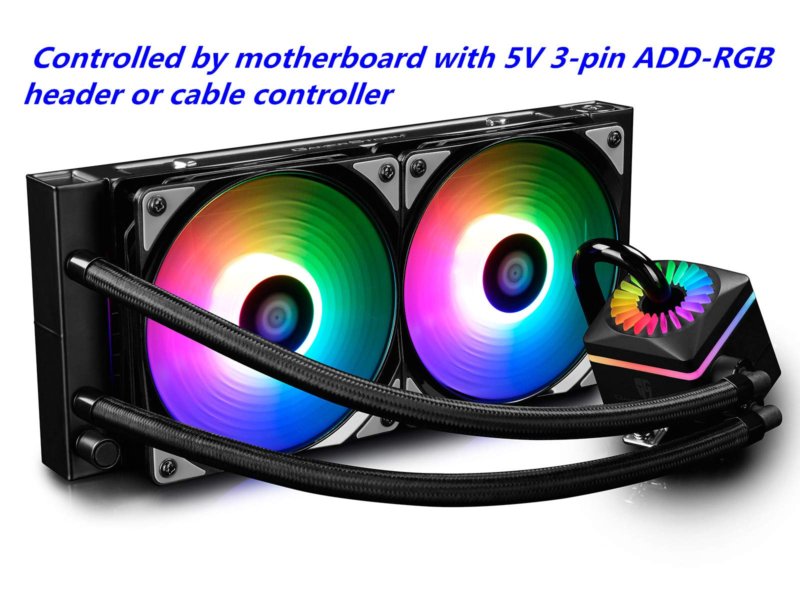 DEEP COOL Captain 240PRO Addressable RGB AIO CPU Liquid Cooler, Cable Controller and 5V ADD RGB 3-Pin Motherboard Control, Intel 115X/2066 and AMD TR4/AM4 Compatible, 3-Year Warranty by DEEP COOL
