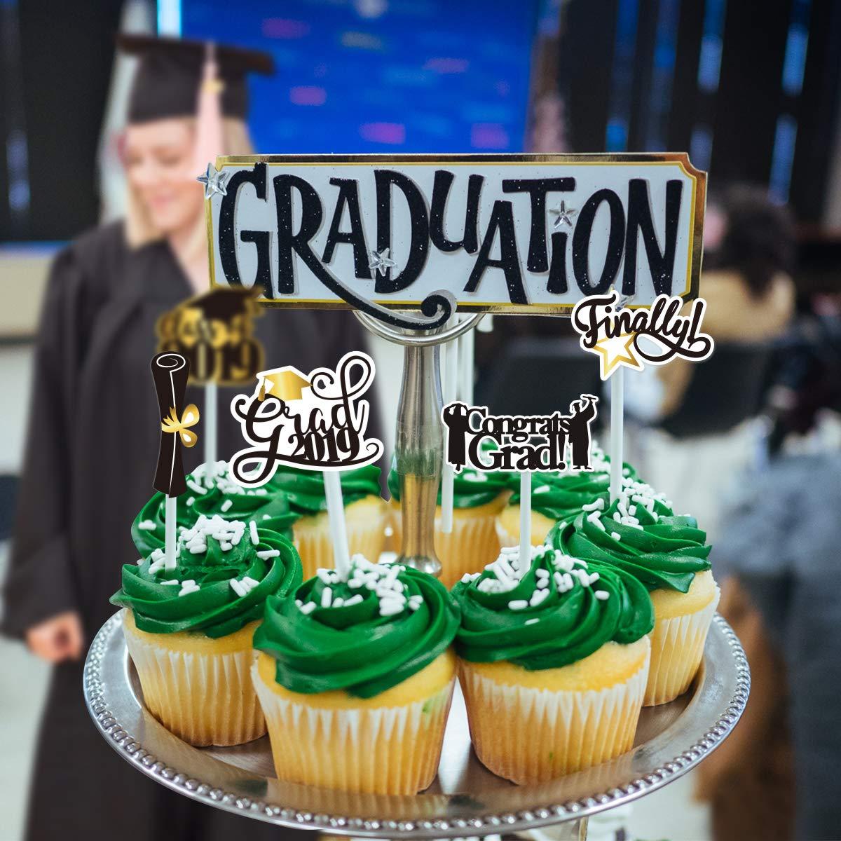 BESTOYARD 72 st/ücke 2019 Abschluss Kuchen Topper Abschlussfeier Cupcake Topper Kuchen Dekorationen Zahnstocher Picks Topper Party Favors