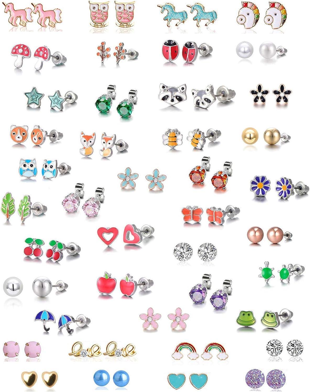 LABOTA 42 pares de pendientes de tuerca de acero inoxidable con diseño de zorro y corazón de zorro, estrella de mariquita, rana, árbol de seta, margarita, oro rosa, blanco y perla (árbol de animales)