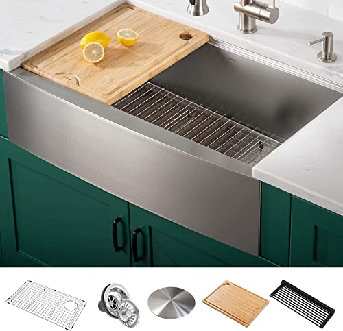 Kraus KWF210-33 Kore Workstation 16 Gauge Farmhouse Single Bowl Stainless Steel Kitchen Sink with Integrated Ledge and Accessories Pack of 5 , 33 Inch Rounded Apron Front