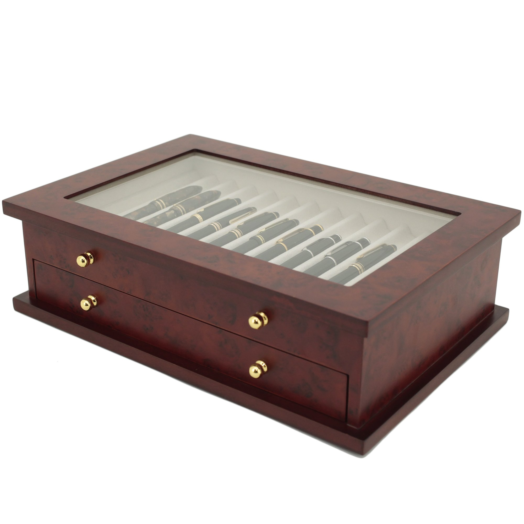 Pen Box 26 Fountain Pens Writing Instruments Wood Constructed Glass Display Case (Burlwood) by Tech Swiss (Image #2)